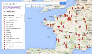 Carte des festivals de jeux 2014