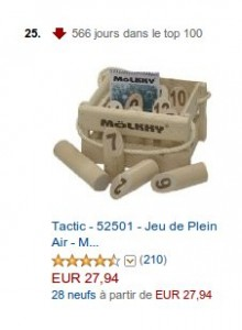 Mölkky - 566 dans le top 100 Amazon.fr