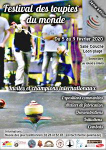 affiche du festival des toupies du monde 2020 de loon plage
